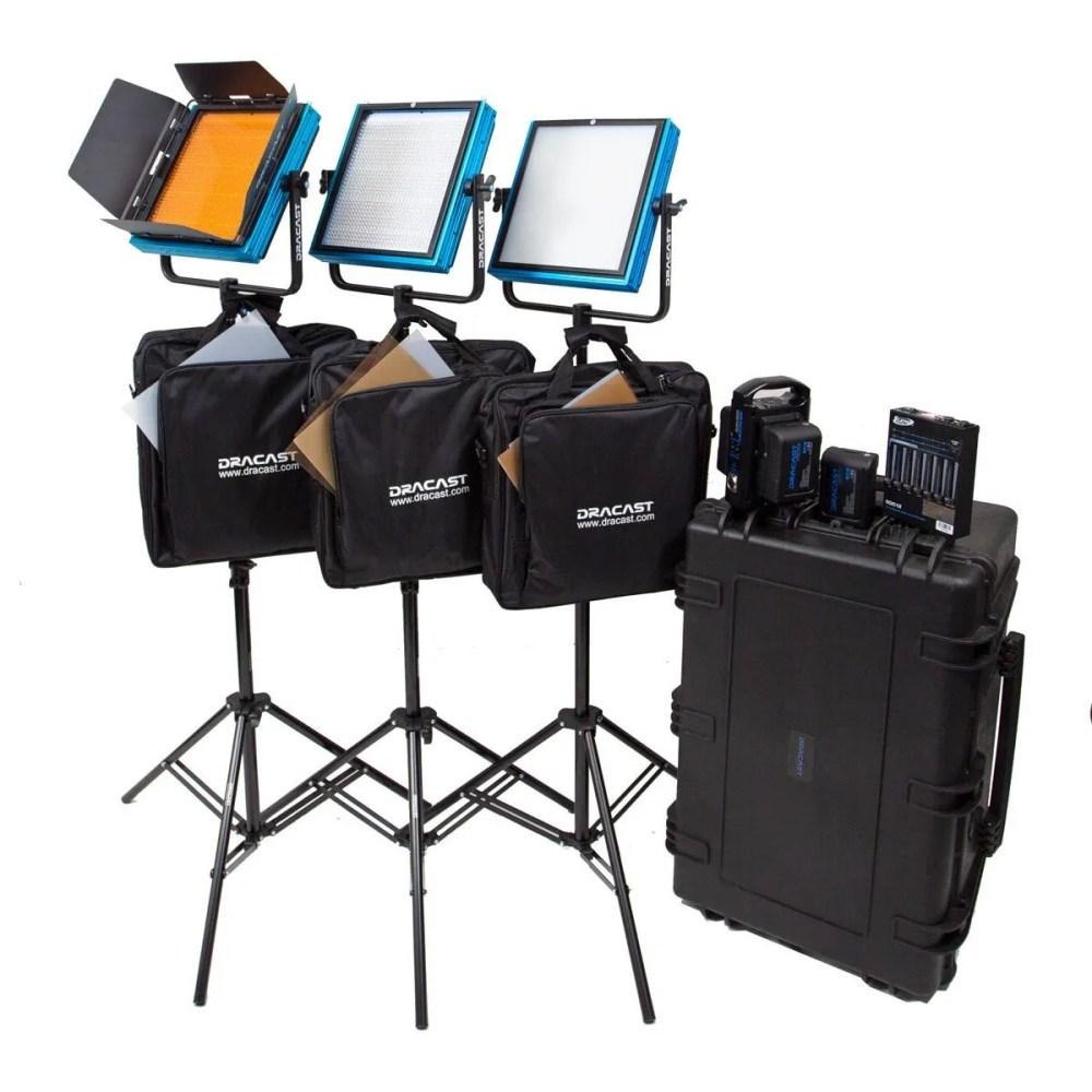 Dracast Plus LED1000 Daylight 3-Light Newsroom Kit with V-Mount and Gold Mount Battery Plates