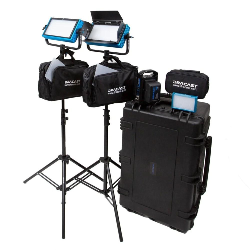 Dracast Pro Series Bi-Color 3-Light Interview Kit with V-Mount Battery Plates