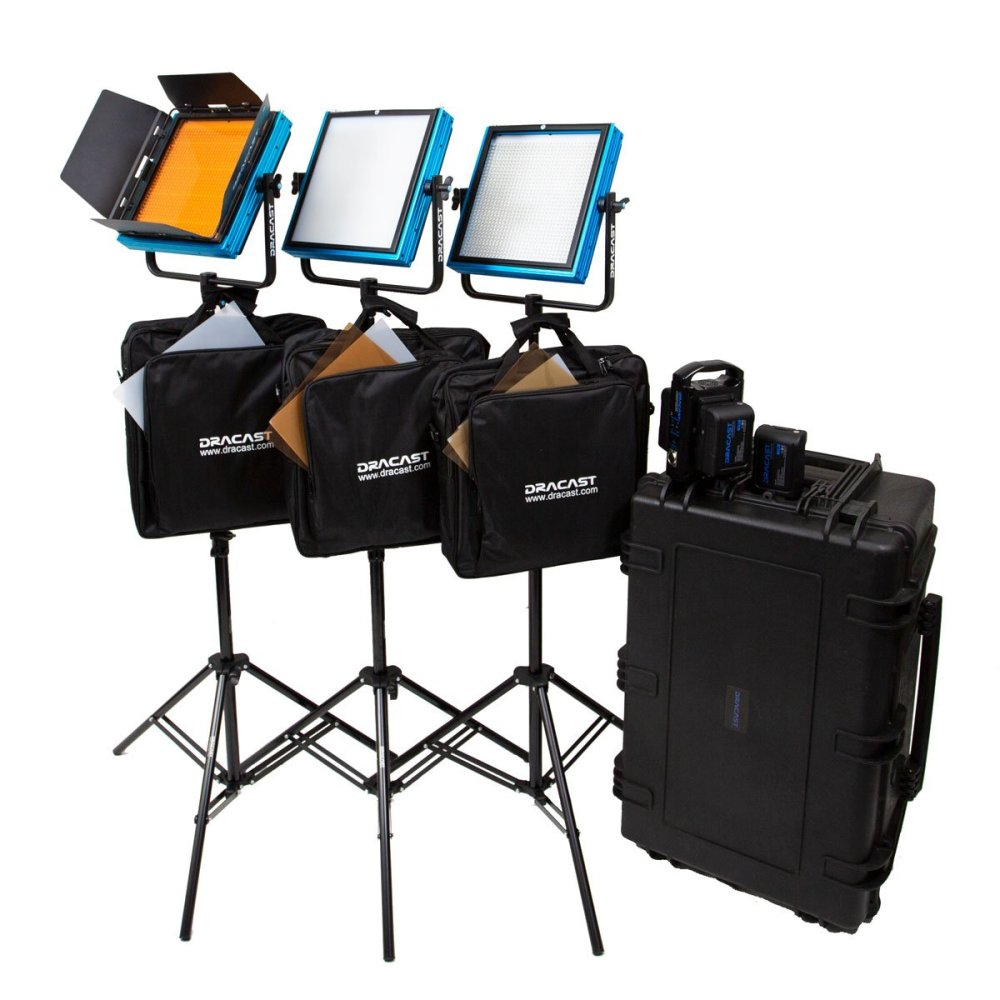 Dracast Plus LED1000 Daylight 3-Light Studio Kit with V-Mount and Gold Mount Battery Plates