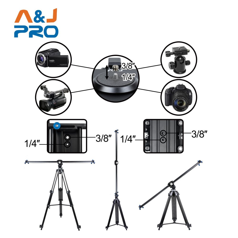"A&J PRO Motorized Camera Slider with Time Lapse and Wide Angle Shot (48"")"