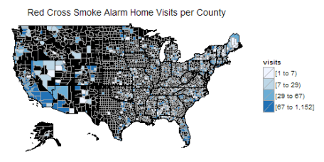 The choropleth map of Red Cross Smoke Alarm Home Visits per county in 10 months