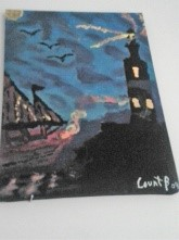 """SOLD """"Lighthouse Refuge"""" 2009 Acrylic 12 x 16 inches"""