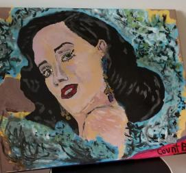 """""""Essence Dita Von Teese"""" 2019 Charcoal, Oil and Acrylic 17 x 21 inches"""