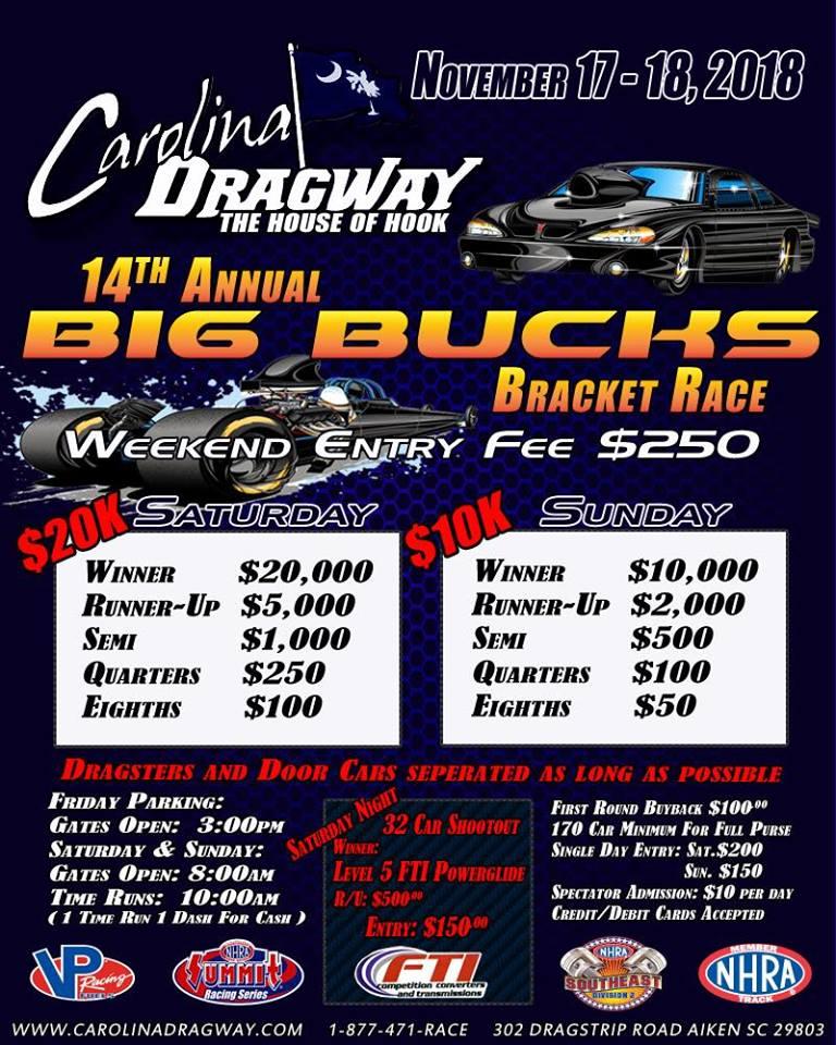 Carolina Dragway Big Bucks Nov 17-18 event flyer