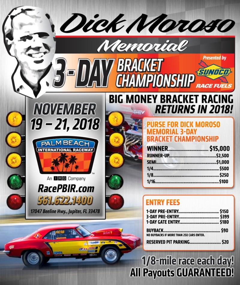 Dick Moroso Memorial 3 Day Bracket Championship event flyer
