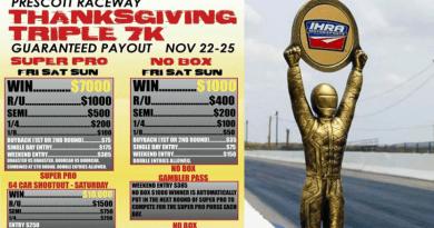 Prescott Raceway Thanksgiving Triple 7K Nov 22-25 event flyer