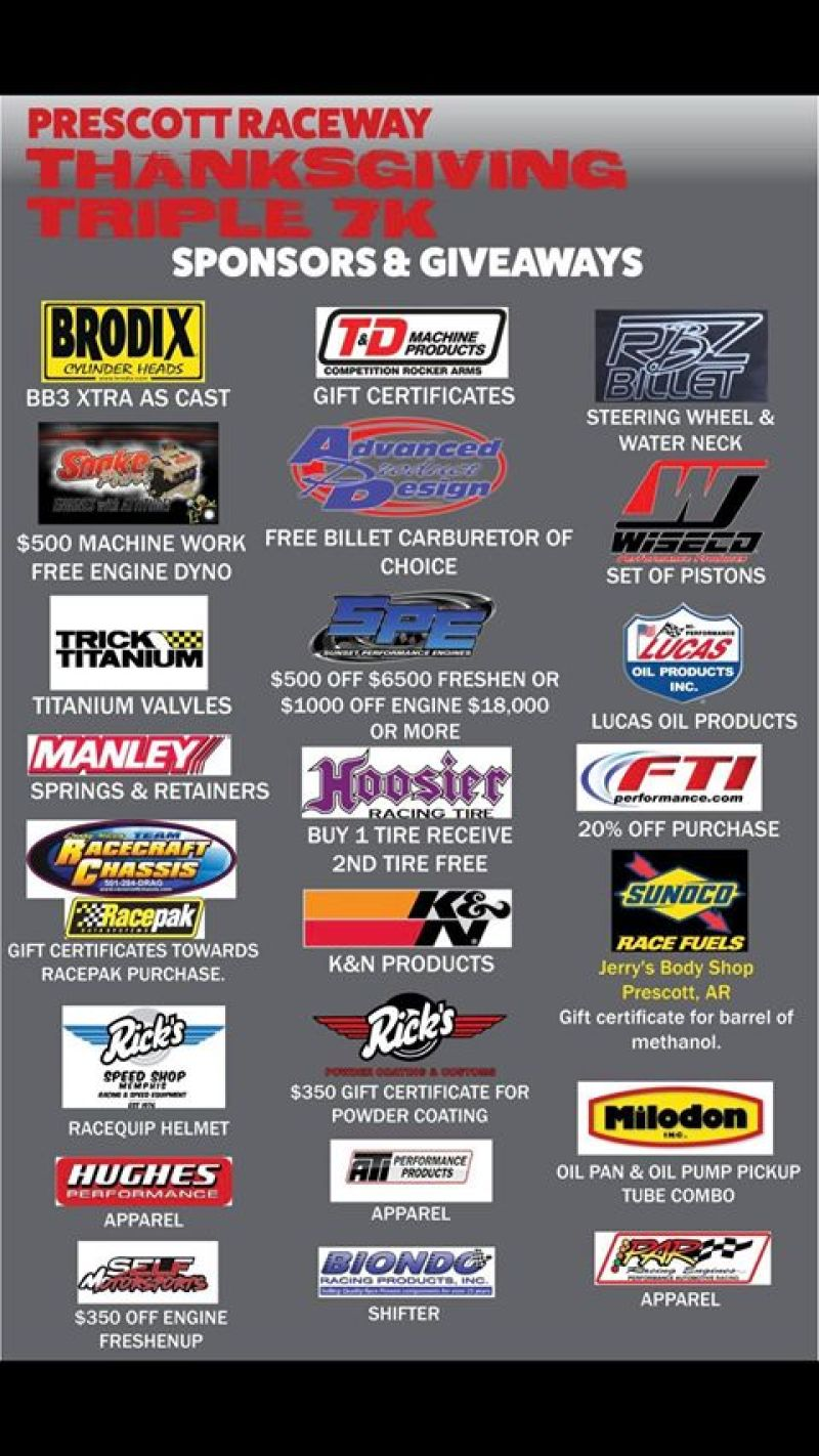 Prescott Raceway Thanksgiving Triple 7k event flyer