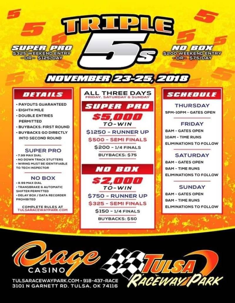 Tulsa Raceway Triple 5s Nov 23-25 event flyer