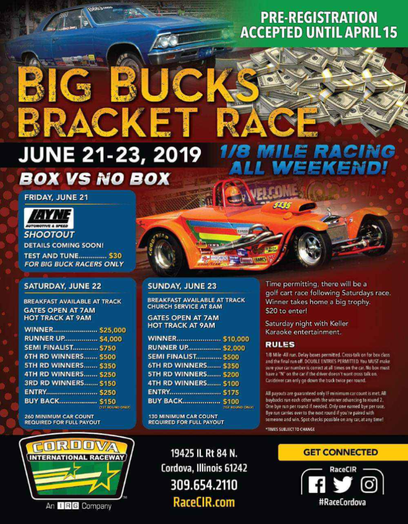 Cordova Big Bucks Bracket Race 2019 Flyer
