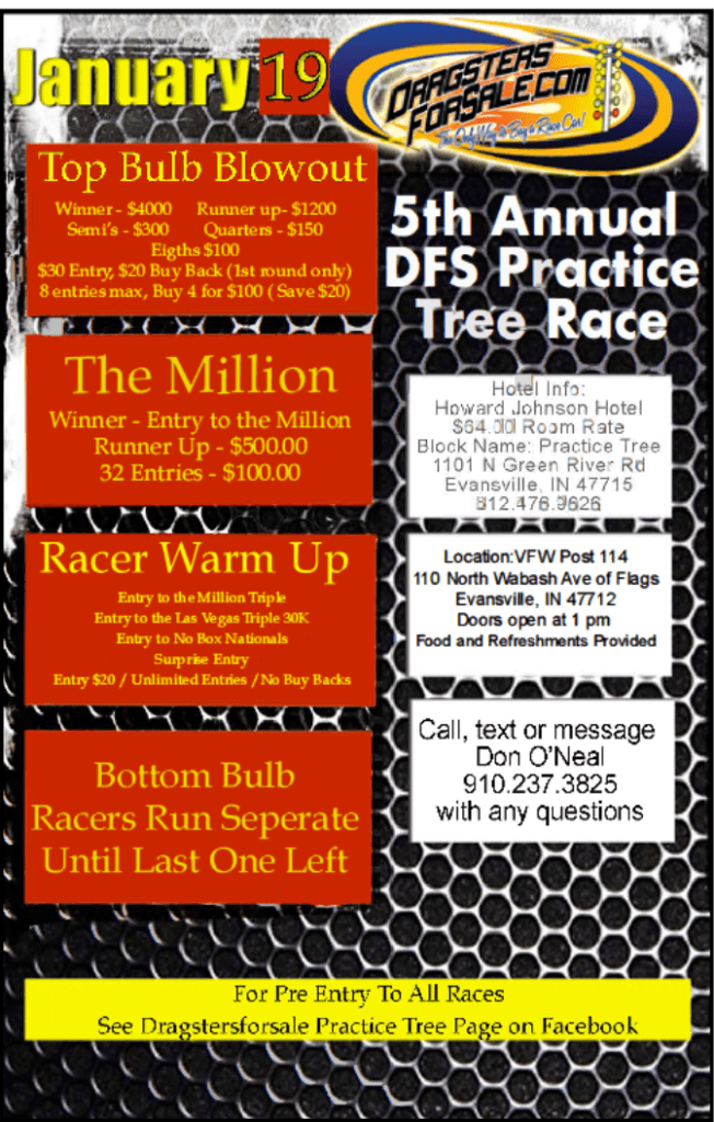 Dragsters for Sale Practice Tree Race 2019 Flyer