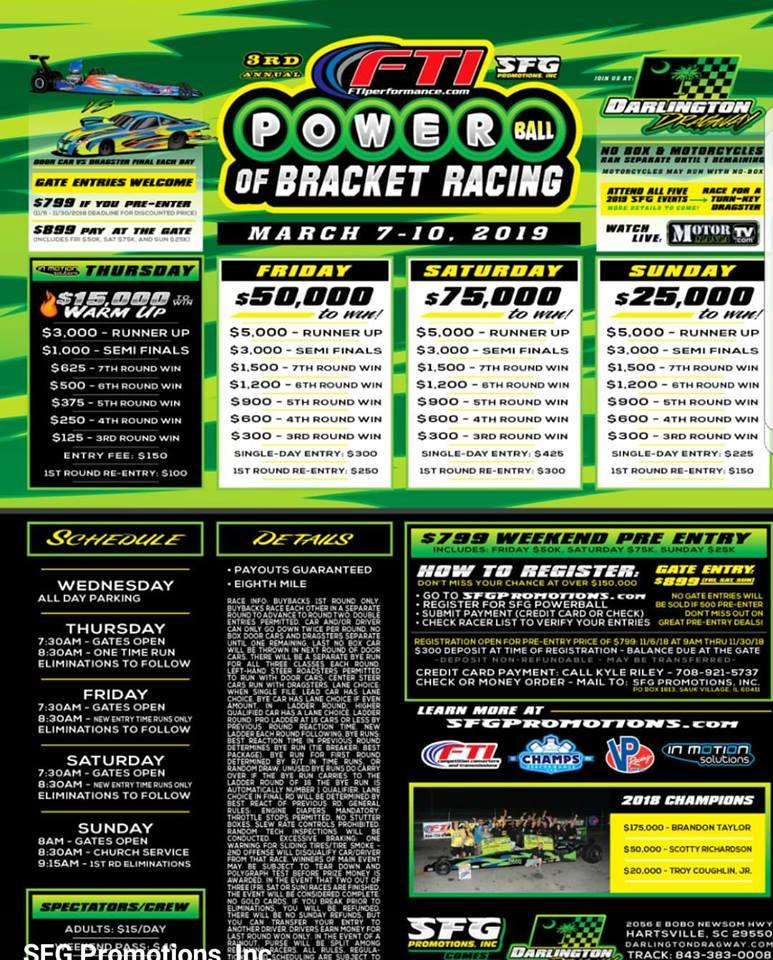 2019 SFG Powerball of Bracket Racing flyer