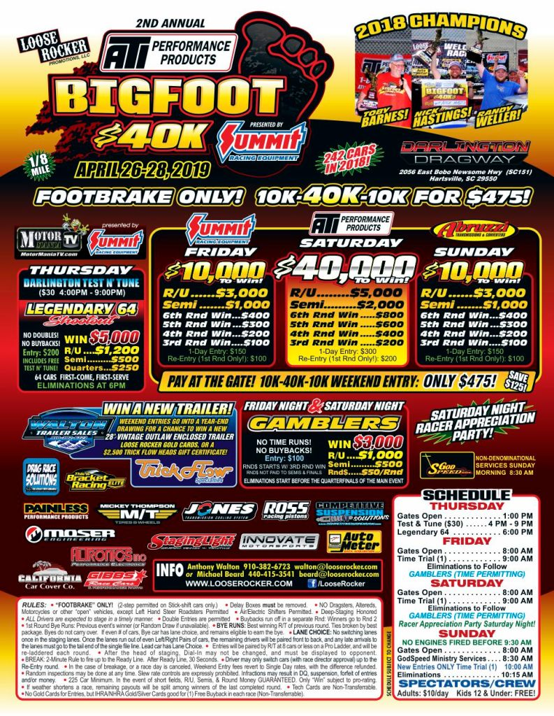 2019 Loose Rocker ATI Bigfoot 40K Event Flyer