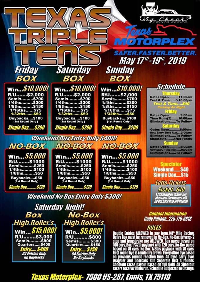 Texas Triple Tens May 2019 Flyer
