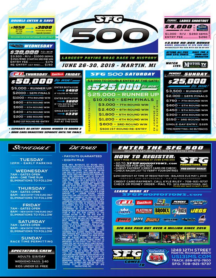 SFG 500 Race Flyer