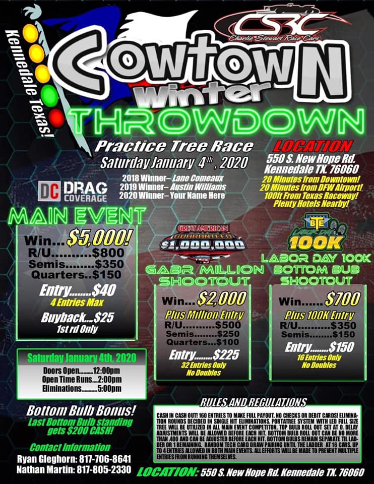 Cowtown Practice Tree Race flyer
