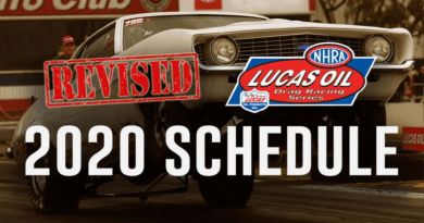 NHRA Revised 2020 Lucas Oil Schedule