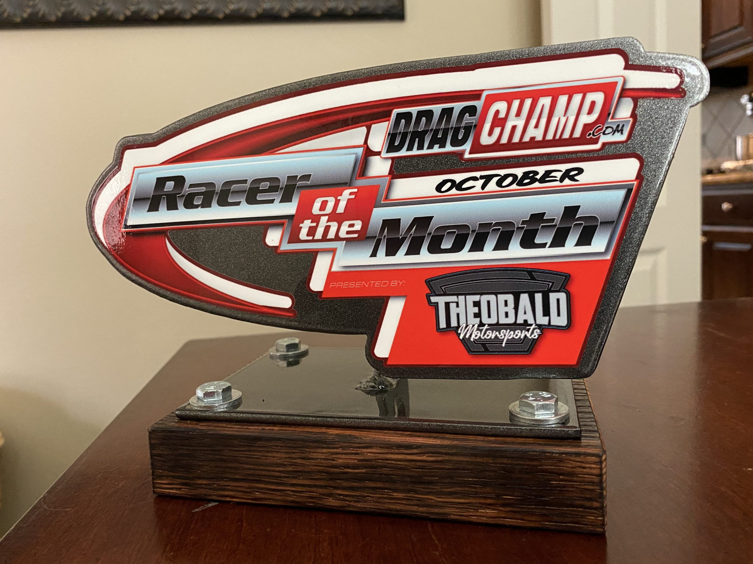 october racer of the month trophy