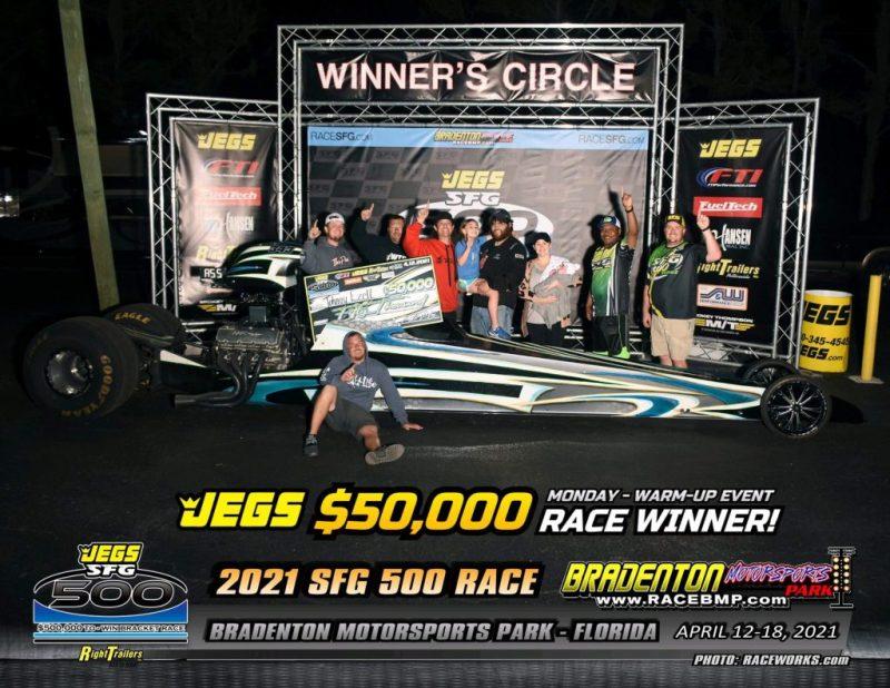 50k warm up winner Johnny Ezell jegs sfg 500