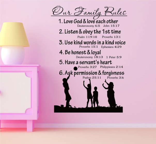 Our Fmily Rules 1.love god and love each other deuteronomy 6:5 John 15:172Listen and obey the 1st time Psalm 119:10 Proverbs 13:1 3.Use kind words in a kind voice Proverbs 15:1 Ephesians 4:29 4.Be honest and loyal Deuteronomy 18:13 1Peter 5:9 5.Have a servant's heart Proverbs 3:27 Philippians 2:14 6.Ask permission and forgiveness Psalms 25:11 Proverbs 3:6 Vinyl Decal