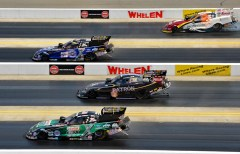 Funny Car final (from top): Tim Wilkerson, Robert Hight, Alexis DeJoria and John Force