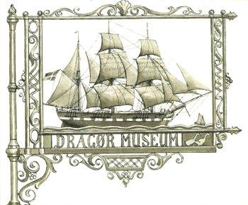 Dragør Museumsforenings logo fra stiftelsesåret 1930, tegnet af Christian Mølsted.