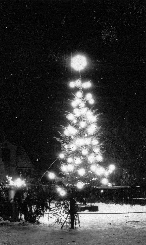 Juletræ opstillet af byens handlende på Neels Torv i 1933. Foto: Historisk Arkiv Dragør.