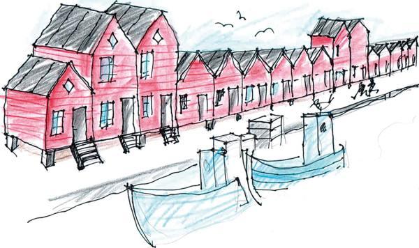 En idéskitse, som viser stilen og byggemåden for nye skure og huse, som Carsten Olesen og Birger Nielsen forestiller sig kunne bygges på værftsgrunden.
