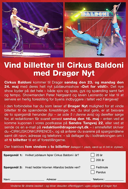 Vind biletter til cirkus med Dragør Nyt.