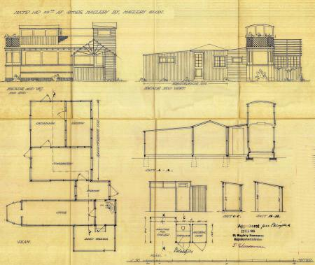 Februar 1935. Mod nord det oprindelige træhus, sporvognen og en terrasse mod syd. Tegning fra Store Magleby Kommunes Bygningskommission.