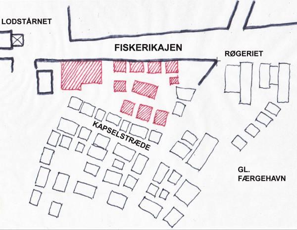 De med rødt markerede bygninger på denne principskitse af en nye skurby på værftsgrunden omfatter foruden et forsamlingshus en række enkelt- og dobbeltskure til maritime aktiviteter. Planen giver også plads til to små torve.