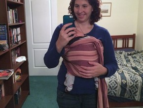 I went to the babywearers meeting to socialize. Came home with a ring sling.