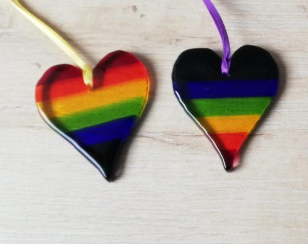 Fused glass Rainbow hearts