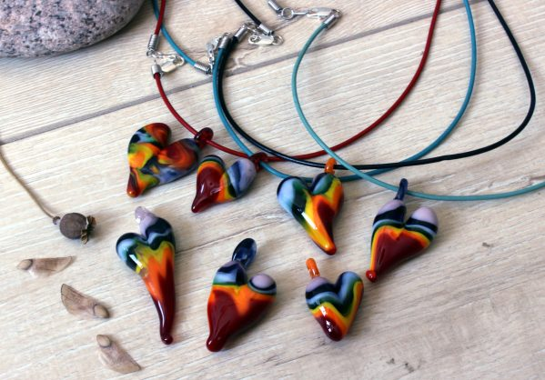 Rainbow Flameworked heart