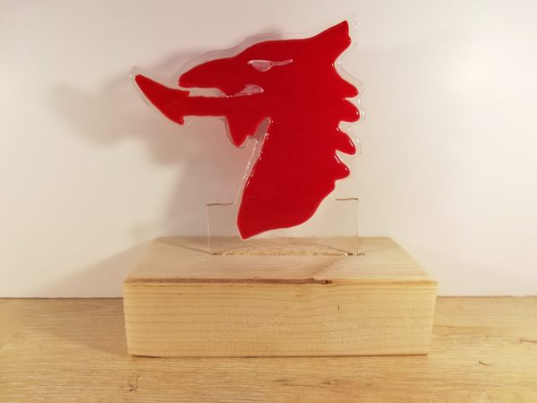 Fused glass dragon head Red