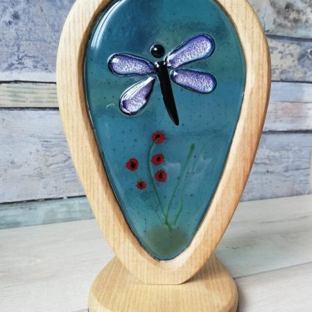 Fused Glass and Wood Freestanding Lightcatcher