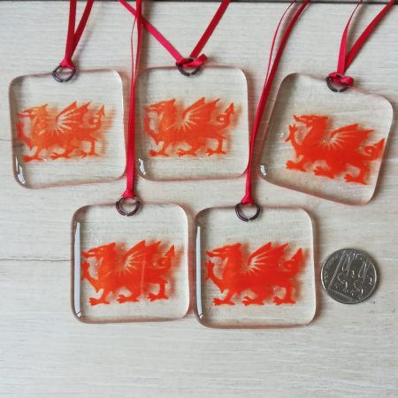 Fused glass dragons - red