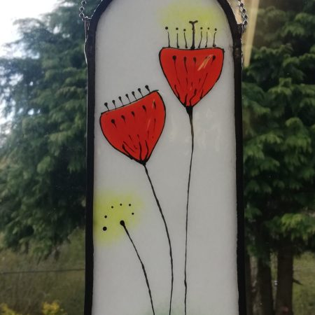 Window view red floral panel