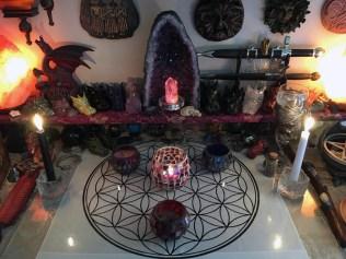 Happily settled on my altar (in front of the amethyst geode)