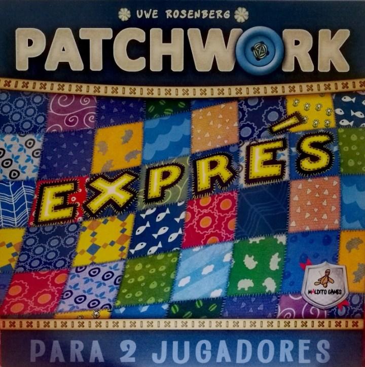 Caja del juego Patchwork Exprés. Madrid con niños, dragones y unicornios.