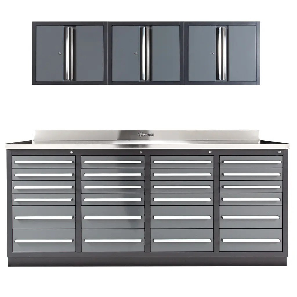 24 Drawer All Steel Workbench with Wall Cabinets
