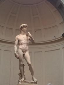 Michelangelo's sculpture David, at the Accademia Gallery in Florence.