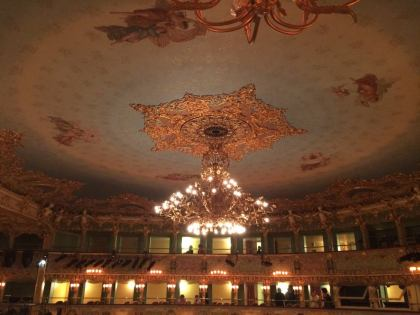 The ceiling in the Teatro al Fenice opera house in Venice.