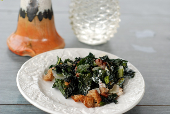 kale and pecan casserole with vases