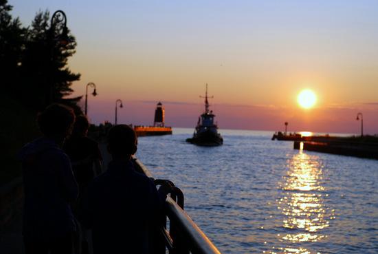sunset along the pier