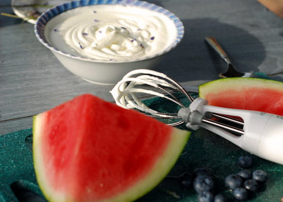 lavender whipped cream and fruit on porch