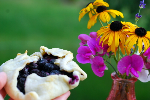 blueberry galette with flowers