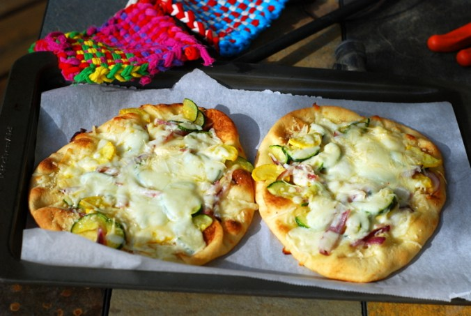 sunshine flatbread pizza on tray 2