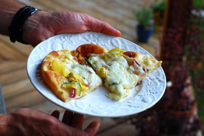 sunshine flatbread pizza on plate