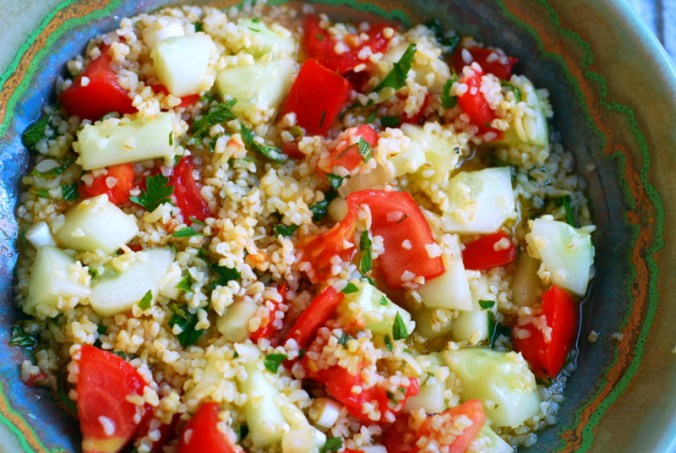 close-up of tabbouleh