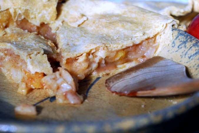 apple plum pie in pie plate